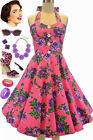 50s Style PLUS SIZE Miss Mabel BRIGHT PINK ROSE FLORAL Pinup HALTER Sun Dress