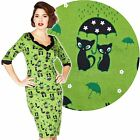 Voodoo Vixen Jade Kat Wiggle Dress 50's Vintage Rockabilly Pin Up Retro Cat