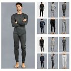 Внешний вид -  Men 2PC Thermal Underwear Knit Top Winter Crew Neck Tee Long John Waffle Pants