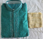 Green Silk Indian clothing Men Kurta Sherwani  with Matching shawl 3 pieces
