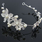 Silver Bridal Wedding Flower Pearl Headband Rhinestone Peacock Hair Clip Comb