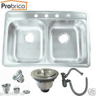 Probrico Top-Mount Stainless Steel Drop-In Equal Double Bowl Basin Kitchen Sinks