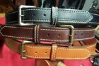 Leather Belt Handmade USA (Heavy Duty Stitched) Full Grain
