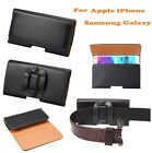 Smooth PU Horizonal Pouch With Belt Clip Bag Case for Mobile Phone Black Holster