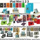 360 ROTATING PU Leather Slim Stand Smart Case Cover for Apple iPad Mini 3 2 1