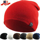 Plain Beanie Knit Ski Cap Skull Hat Warm Solid Cool Winter Cuff New Blank Beany