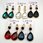 New Women Drop Elliptic Droplet Dangle Earrings Multicolor Oval Crystals