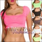 NEW SEXY LADIES SHORT SLEEVE CROP TOP XS S M L XL WOMEN'S CROPPED SHIRT online