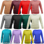 LADIES CABLE KNITTED CREW ROUND NECK LONG SLEEVE WOMENS JUMPER SWEATER SIZE 8-14