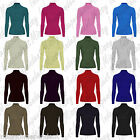 Womens Ladies Long Sleeve Ribbed Polo Roll High Neck Stretch Jumper Top 8-14