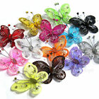 "20 PCS 2"" Organza Tulle Butterflies Craft Wedding  Decoration DIY Choose Colors"