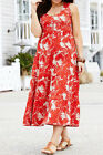 MARISOTA Sleeveless Leaf Print Tiered Stretch Cotton Dress RED / BEIGE 12 to 20