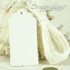 Pack of Retro White Scallop Plain Blank Gift Tags Luggage Wedding with+Strings