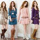 Women Long Sleeve Loose With Belt Ball Gown Tunic Cocktail Dress Skirt Pullover