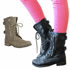 Ladies Military Boots Womens Army Combat Ankle Lace Up Flat Biker Zip Sizes 3-8