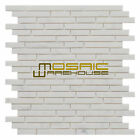 """Marble Mosaic Tile, """"Tibet Collection"""" MM 5101 - White Carrara, Strips, Polished"""