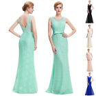 Sexy Womens Lace Tulle Applique Bridesmaid Formal Long Cocktail Evening Dresses