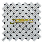 """Marble Mosaic Tile, """"Knot Collection"""" MM 7202 - Net, Strips and Dots, Polished"""