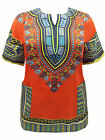 eaonplus Unisex COTTON DASHIKI Kaftan Tunic Top ORANGE Sizes 16 to 28 PLUS SIZE