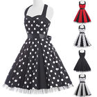 Polka Dots   VTG Style Swing Halter Rockabilly Party Prom 50's Dresses Plus Size