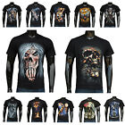 Mens 3D Print Funny Skull Animal T Shirt Short sleeve Tee Round Top Halloween