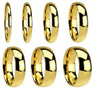 2mm to 8mm Gold Plated Stainless Steel Plain Wedding Band Ring Size 4 - 14.5