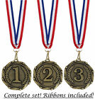 """1st 2nd & 3rd Medals and Ribbons - Engraved FREE your message - Free P+P"""