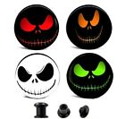 PAIR- CREEPY SMILEY FACE EAR GAUGES EAR PLUGS FLESH TUNNELS - CHOOSE COLOR image