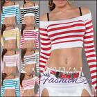 NEW SEXY STRIPED CROPPED TOP size 6 8 10 12 WOMEN'S CROP SHIRT online boutique
