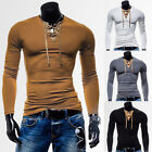 Sexy Mens Slim Fit V Neck Sport T-Shirts Muscle Long Sleeve Casual Shirts Tops