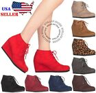 New Women's Round Toe Lace Up Wedge Heels Suede Ankle Boots Booties WITH BOX