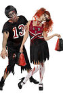 Couples Ladies Mens Zombie Cheerleader Footballer Halloween Fancy Dress Costumes