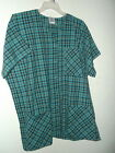 NWT 2x 3 pocket SNAP FRONT v neck scrubs top by S.C.R.U.B.S OCEAN MIST PLAID