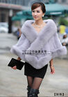 100% Real Genuine Rex Rabbit Fur Cape Fox Fur Collar Whole Skin Wrap Evening NEW