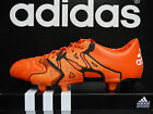 NEW ADIDAS X 15.1 FG/AG Leather Men's Soccer Cleats - SolarOrange/Black;  B26980