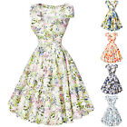 Classic Floral Vintage 1950s Swing Cocktail Rockabilly Tea jive Housewife Dress