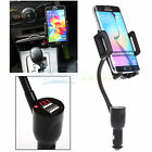 Dual USB Port Car Cigarette Lighter LED Charger Mount Holder For Phone Tablet