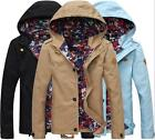 Fashion Casual Jacket Hooded Full Zipper Trench Slim FIt Men Floral  OVercoat