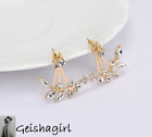 Wedding Prom Fashion Women's Stud Earrings Ear Cuf Gold or Silver Leaf UK Seller