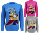 Kids Girls Knitted King Crown Minion Christmas Xmas Jumper Sweater Top Pullover