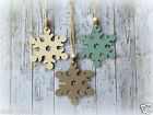 Shabby Chic Handmade Wooden Christmas Tree Decoration Gift Set of 3 - SNOWFLAKES
