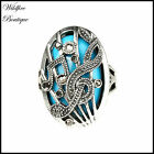Vintage Silver Marcasite Style Treble Clef Cage Ring w/ Turquoise Blue Stone