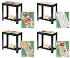 BLACK WOODEN FINISH END ACCENT TABLE NIGHT STAND WITH THEMED LABEL POSTER TOP