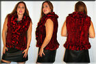 New Scarlet Red Sheared Rex Rabbit Fur Vest Sizes Small Medium Large Extra Large