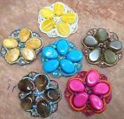 "MOSAIC APPLIQUE 2.5"" Scallop FLOWER Hand Sewn OVAL Drops Beads Sequins 1pc"