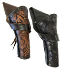 """8-10"""" Tooled Leather Western Cowboy Crossdraw Pistol Holster Black Brown Natural"""