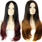 U Part Black Root Glamour Long Curly Wavy Straight Style Costume Ombre Hair Wig