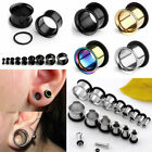 Pair Steel Single Flared O-Ring Flesh Tunnel Ear Plugs Expander Stretcher Gauges