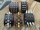 New Punk Men Women Wide Genuine Leather Bracelet Cuff Wristband Bangle (USA)