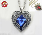 Hot Retro Vintage Heart Shape Blue Red Crystal Angel Wing Pendant Necklace Long